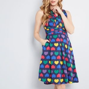 NWOT Modcloth rainbow hearts fitted dress